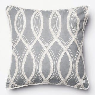Embroidered Grey/ White Feather and Down Filled or Polyester Filled 18-inch Throw Pillow or Pillow Cover