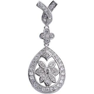Sterling Silver Cubic Zirconia Vintage Style Floral Drop Pendant