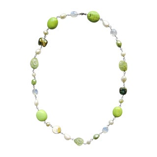 Lime Green Turquoise with Pearl and Moonstone Necklace
