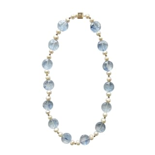 14k Gold-plated Blue Topaz and White Freshwater Pearl Necklace