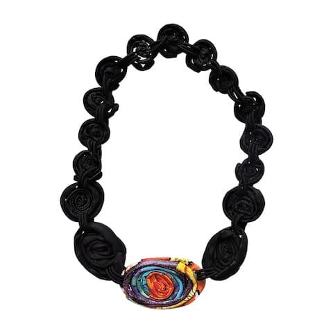 Handmade Fabric Medallion Necklace