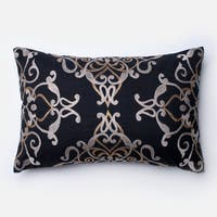 Embroirdered Cotton Black Filigree 13 x 21 Throw Pillow or Pillow Cover