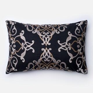 Embroirdered Cotton Black Filigree 13 x 21 Throw Pillow or Pillow Cover