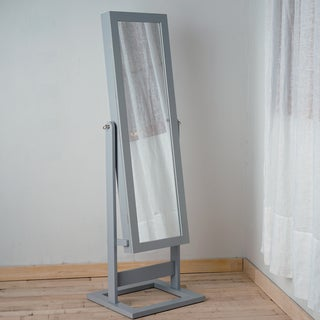 Hives & Honey Grey Fabric/Glass/MDF/Wood Standing Mirror