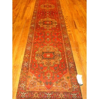 Pasargad Rust Wool Serapi Hand-knotted Runner (2'7 x 12')