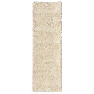 Ultra Shag Collection Ivory Polypropylene Indoor Runner Rug (3' x 8')