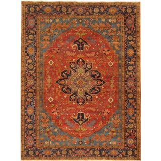 Pasargad Rust and Navy Lamb's Wool Serapi Hand-knotted Area Rug (3'11 x 10')