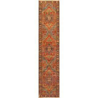 Pasargad Heriz Rust/Navy Lamb's Wool Hand-knotted Area Rug (3'10 x 14')