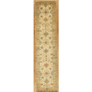 Pasargad Mahal Ivory/Gold/Red Wool Hand-knotted Runner Area Rug ( 2' 5 x 19')