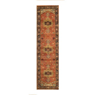 Pasargad Serapi Rust/Navy Lamb's Wool Hand-knotted Runner (2'8 x 10') - 2'8 x 10'