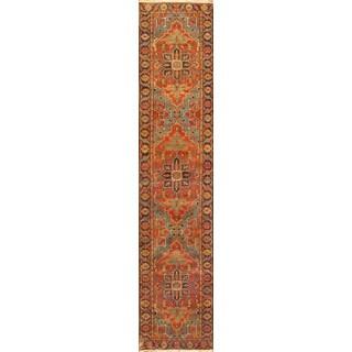 Pasargad Heriz Rust/Navy Lamb's Wool Hand-knotted Runner (4' x 10')