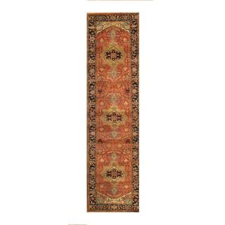Pasargad Serapi Hand-knotted Rust-Navy Lamb's Wool Runner (2'5 x 12')