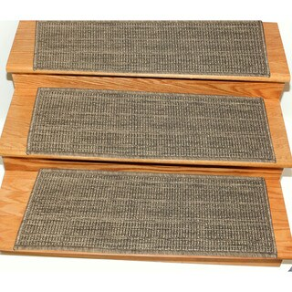 Ottomanson Jardin Collection Jute Back Indoor/Outdoor Carpet Stair Treads (Set of 7) - 9 x 26