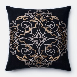 Embroirdered Cotton Black/ Taupe Filigree Feather and Down Filled or Polyester Filled 18-inch Throw Pillow or Pillow Cover
