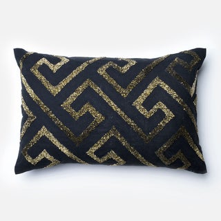 Beaded Cotton Black/ Gold Fret Feather and Down Filled or Polyester Filled 13 x 21 Lumbar Throw Pillow or Pillow Cover