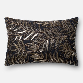 Sequined Embroidered Black/ Gold Leaf Feather and Down Filled or Polyester Filled 13 x 21 Lumbar Throw Pillow or Pillow Cover