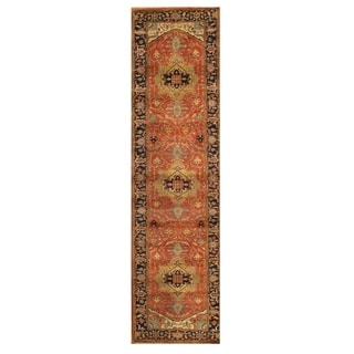 Pasargad Serapi Rust/Navy Lamb's Wool Hand-knotted Runner (2'8 x 8')