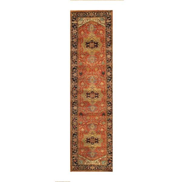 Pasargad Serapi Rust/Navy Lamb's Wool Hand-knotted Runner (2'8 x 8') - 2'8 x 8'