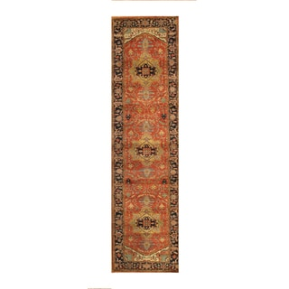 Hand-knotted Rust and Navy Lamb Wool Pasargad Serapi Runner (2'7 x 9')
