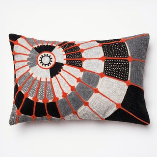 Embroidered Cotton Grey/ Orange Spiral Feather and Down Filled or Polyester Filled 13 x 21 Lumbar Throw Pillow or Pillow Cover