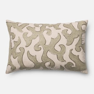 Embroirdered White/ Beige Scroll Feather and Down Filled or Polyester Filled 13 x 21 Lumbar Throw Pillow or Pillow Cover