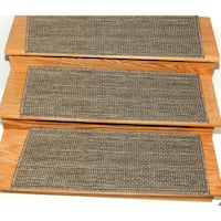Ottomanson Jardin Collection 9-inch x 26-inch Jute-back Indoor/Outdoor Carpet Stair Treads - 2' x 2'