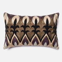 Embroidered Plum/ Multi Damask Feather and Down Filled or Polyester Filled 13 x 21 Lumbar Throw Pillow or Pillow Cover