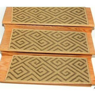 Ottomanson Jardin Collection Polypropylene 9-inch x 26-inch Jute Back Indoor/Outdoor Carpet Stair Treads (Pack of 7)