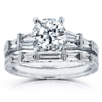 Annello by Kobelli 18k White Gold Certified 1 4/5ct TDW Round and Baguette Diamond Art Deco Bridal R