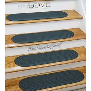 Madeira Braided Reversible Stair Treads by Rhody Rug (Set of 4) - 8 x 28