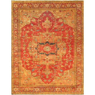 Pasargad Serapi Rust Lamb's Wool Hand-knotted Area Rug (6' x 9')