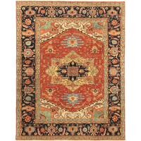 Pasargad Serapi Rust/Navy Hand-knotted Lamb's Wool Area Rug (6' x 9') - 6' x 9'