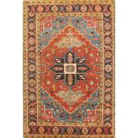 Pasargad Heriz Rust/Navy Wool Hand-knotted Area Rug (6' x 9') - 6 x 9