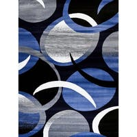 """Persian Rugs Blue/Black/Grey/White Abstract Area Rug - 7'10"""" x 10'6"""""""