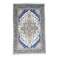 Ivory and Blue Wool Persian Heriz Hand-knotted Rug (12'4 x 19'5)