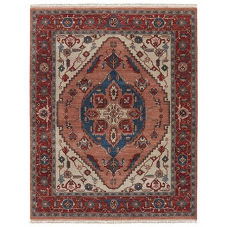 Classic Oriental Pattern Pink/Red Wool Area Rug ( 10x14)