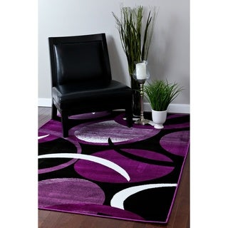 1062 Collection Black/Purple/White Polypropylene Abstract Area Rug (4'0 x 5'3)