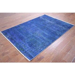 Oriental Overdyed Blue Wool Hand-knotted Area Rug (4'2 x 6'1)