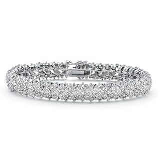 PalmBeach Platinum-plated 1 TCW Diamond Snake-link Bracelet