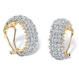 PalmBeach 18k Yellow Goldplated 1/10 TCW Diamond Cluster C-hoop Earrings