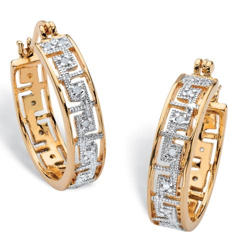 Yellow Gold-Plated Greek Key Hoop Earrings (25mm) Genuine Diamond Accent