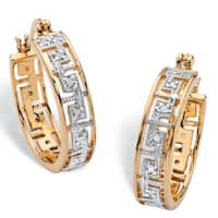 Yellow Gold-Plated Diamond Accent Greek Key Hoop Two-Tone Earrings