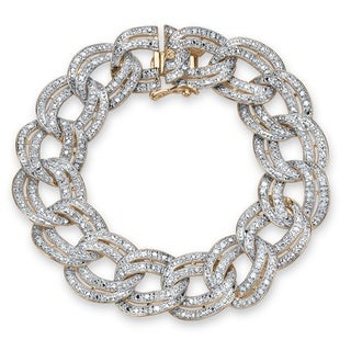 PalmBeach 18k Yellow Gold-plated Diamond Double Rolo-link Bracelet
