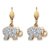 Gold-plated Diamond Accent Two-tone Lever Back Elephant Drop Earrings