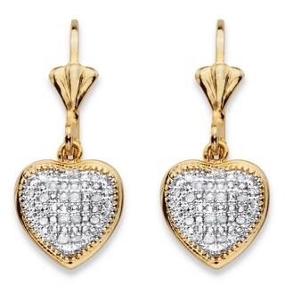 18k Two-tone Gold-Plated 1/10 TCW Diamond Heart Charm Lever-back Earrings