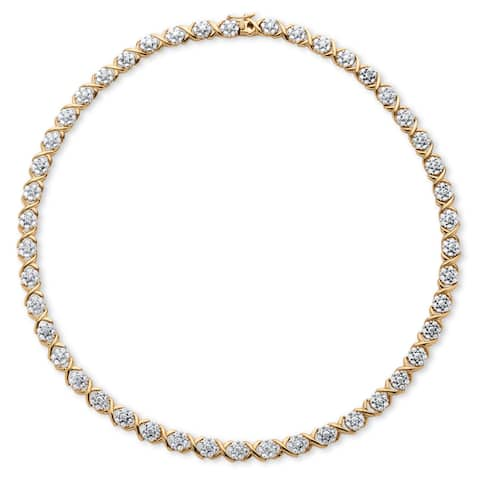 Yellow Gold-Plated Round Genuine Diamond Collar Necklace (1/5 cttw) (IJ Color, I2-I3 Clarity)