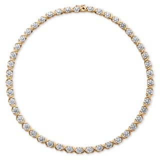 18k Yellow Goldplated 0.25 TCW Diamond 'X and O' Necklace
