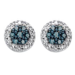 Platinum Over Sterling Silver 1/2 TCW Blue and White Diamond Halo Stud Earrings