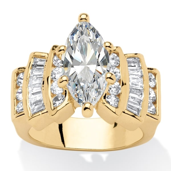 Diamond Rings For Sale Walmart: Shop Yellow Gold-plated Cubic Zirconia Step Top Engagement