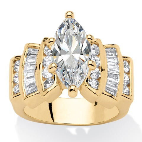 Yellow Gold-plated Cubic Zirconia Step Top Engagement Ring - White